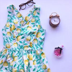 Elle Lemon Print Fit & Flare Sleeveless Dress